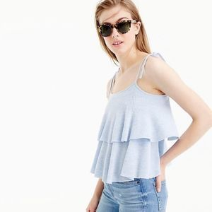 J. Crew Merino Wool Tiered Top Blue Medium